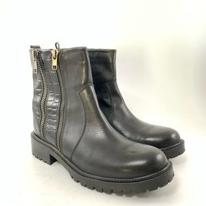 Zara Trafaluc black leather boots